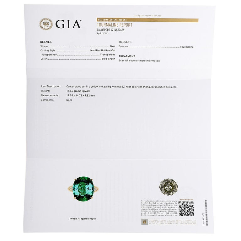 GIA Certified Green Tourmaline Diamond 18k Gold Cocktail Ring For Sale 1