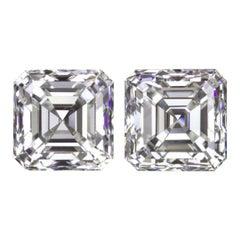 GIA Certified H Color VS1 1.80 Carat Asscher Cut Doamond Studs Earrings Loose