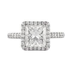 GIA Certified H VS1 2.05 Carat Princess Cut Diamond Ring 18 Karat White Gold