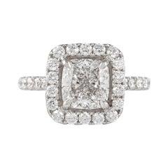 GIA Certified H VS1 2.50 Carat Cushion Diamond Engagement Ring 18k White Gold