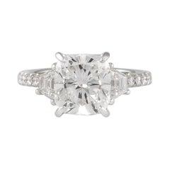 GIA Certified H VS1 3.01 Carat Cushion Diamond Engagement Ring 18k White Gold