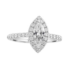 GIA Certified H VS2 Marquise Diamond Classic Halo Gold Engagement Bridal Ring