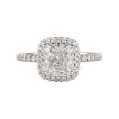 GIA Certified H VVS2 1.50 Carat Cushion Diamond Engagement Ring 18k White Gold