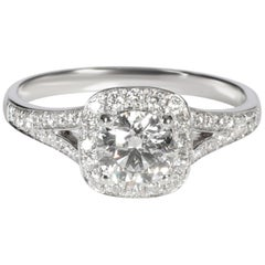 GIA Certified Halo Diamond Engagement Ring in Platinum F SI1 1.21 Carat