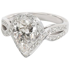 GIA Certified Halo Pear Shape Diamond Engagement Ring in 14K White Gold 2.05 CTW
