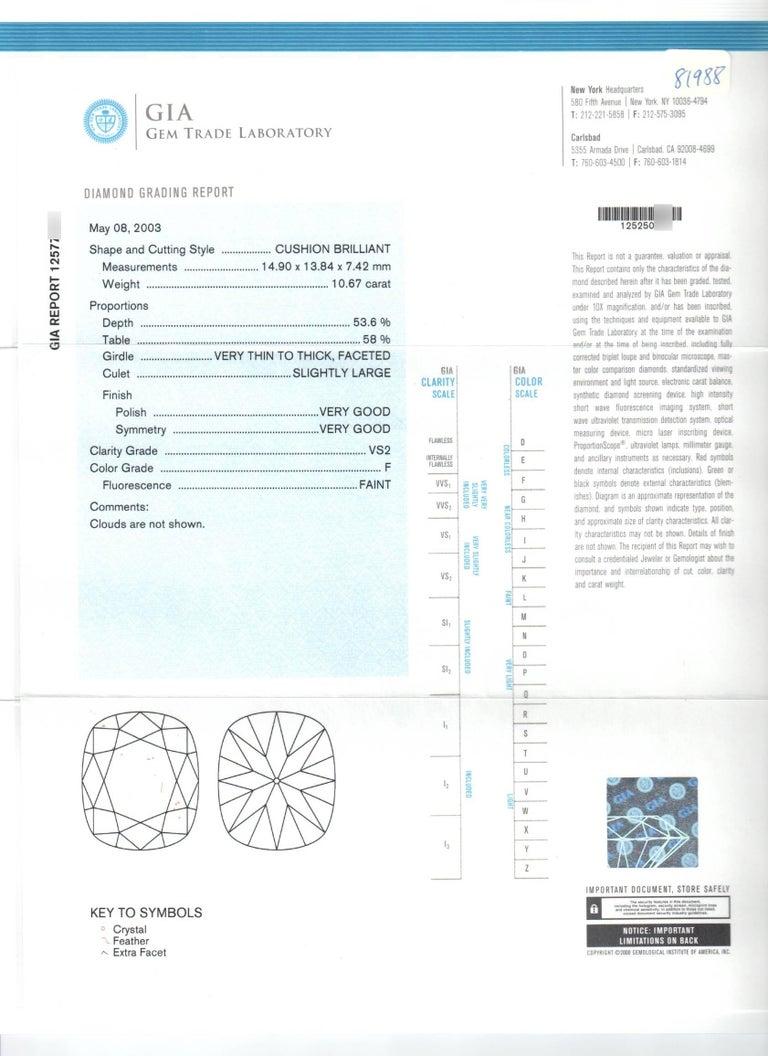 Harry Winston GIA Certified Cushion Cut 10.67 carat F/VS2 Diamond Ring  For Sale 7