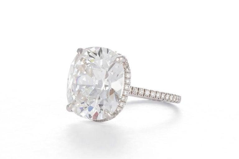 Modern Harry Winston GIA Certified Cushion Cut 10.67 carat F/VS2 Diamond Ring  For Sale