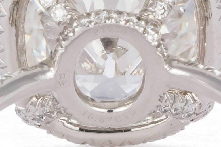 Harry Winston GIA Certified Cushion Cut 10.67 carat F/VS2 Diamond Ring  For Sale 1