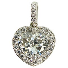 GIA Certified Heart Diamond 2.60 J SI1 in Halo Diamond Pendant