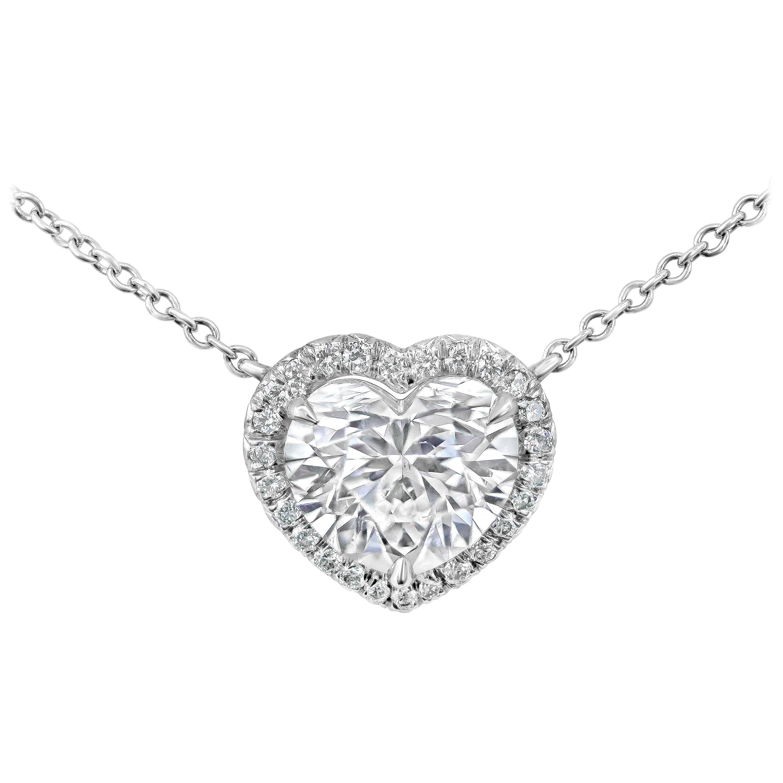 Roman Malakov GIA Certified Heart Shape Diamond Halo Pendant Necklace