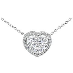 GIA Certified Heart Shape Diamond Halo Pendant Necklace