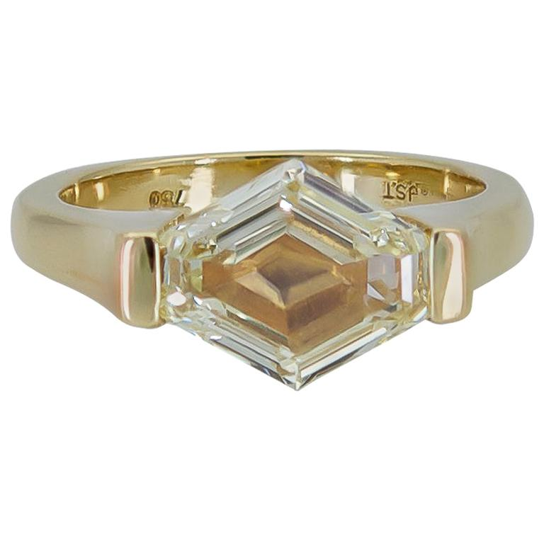 GIA Certified Hexagon Cut Yellow Diamond Solitaire Engagement Ring
