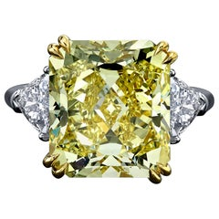 GIA Certified Important 10.12 Carat Fancy Intense Yellow Radiant Diamond Ring