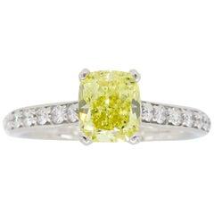 GIA Certified Intense Fancy Yellow Diamond White Gold Engagement Ring
