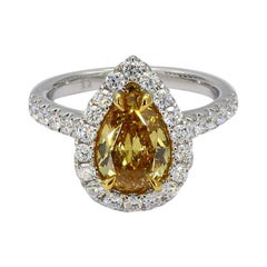 GIA Certified Intense Orangy Yellow Pear Shape Diamond Halo Ring 2.28ct TW