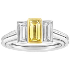 Roman Malakov Intense Yellow Baguette Diamond Three-Stone Engagement Ring
