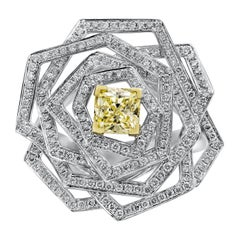 GIA Certified Intense Yellow Diamond Geometric Flower Ring