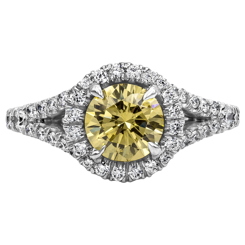 Roman Malakov GIA Certified Intense Yellow Diamond Halo Engagement Ring