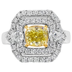 Roman Malakov, Intense Yellow Diamond Three-Stone Halo Engagement Ring