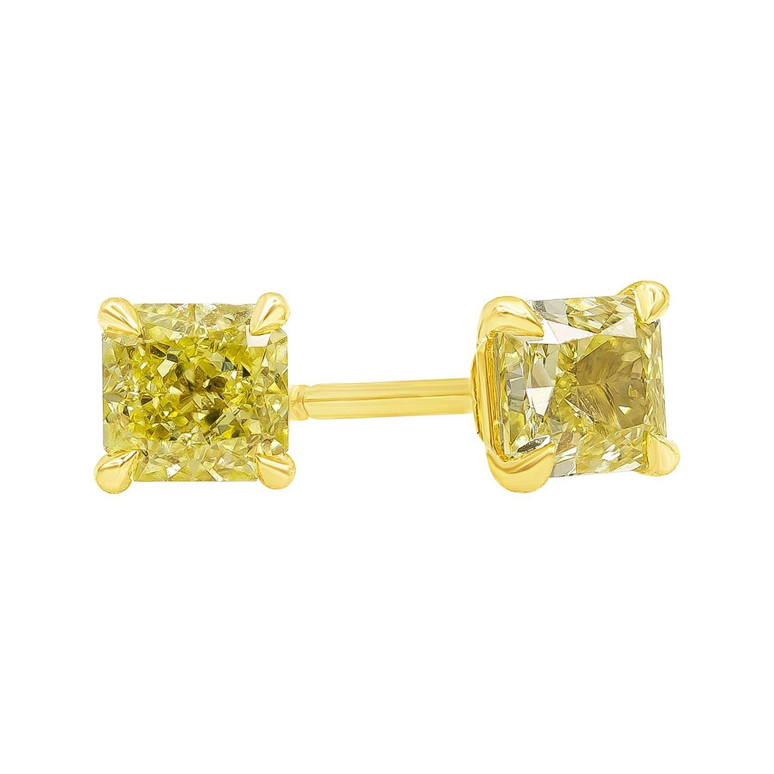 Roman Malakov, GIA Certified Intense Yellow Radiant Cut Diamond Stud Earrings