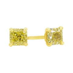 GIA Certified Intense Yellow Radiant Cut Diamond Stud Earrings