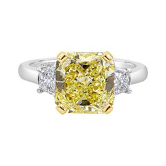 GIA Certified Intense Yellow Radiant Cut Diamond Three-Stone Engagement Ring