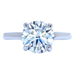 GIA Certified 1.40 Carat Round Brilliant Cut Diamond Platinum Ring