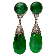 GIA Certified Jade and .10 Carat Diamond Drop Platinum and 14k Gold Earrings
