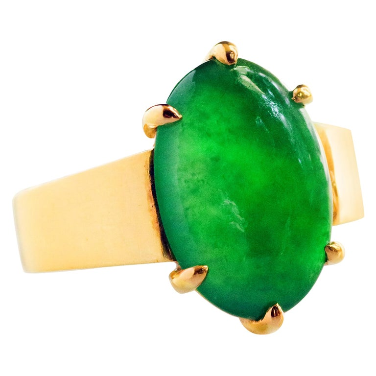"""GIA Certified Jade Ring with """"Imperial"""" Coloring in Dense 22 Karat Setting For Sale"""
