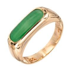 GIA Certified Jadeite Jade 14 Karat Yellow Gold Saddle Ring