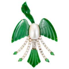 GIA Certified Jadeite Jade Diamond Pearl Yellow Gold Bird Brooch