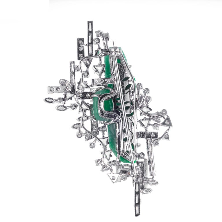 Marquise Cut GIA Certified Jadeite Jade Diamond White Gold Brooch For Sale