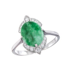 GIA Certified Jadeite Jade Diamond White Gold Ring