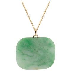 GIA Certified Jadeite Jade Tablet Pendant Necklace