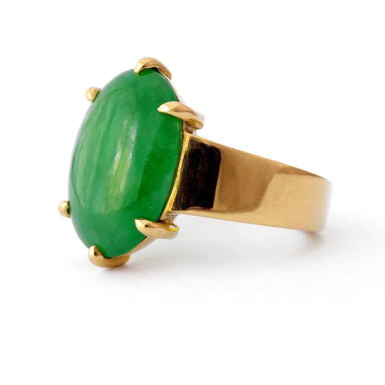 Contemporary GIA Certified Jade Ring with