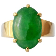 "GIA Certified Jadeite Jade with ""Imperial"" Coloring in 22 Karat Setting"