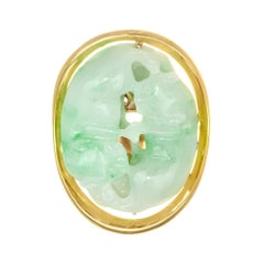 GIA Certified Jadeite Jade Yellow Gold Carved Cat Cocktail Ring