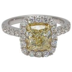 GIA Certified Light Yellow 2.33 Carat Cushion & White Diamond Ring 18 Karat Gold