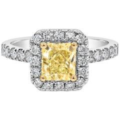 GIA Certified Light Yellow Diamond Halo Engagement Ring