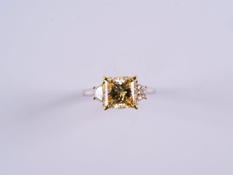 Princess Cut GIA Certified Light Yellow Princess and White Diamond Ring 3.42 Cts Total Dia For Sale