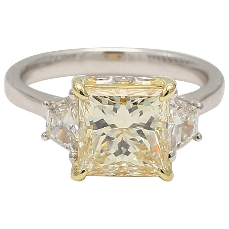 GIA Certified Light Yellow Princess and White Diamond Ring 3.42 Cts Total Dia For Sale