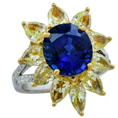 GIA Certified Madagascar Sapphire White and Fancy Yellow Diamond Ring