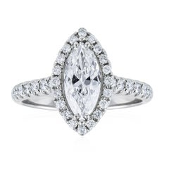 GIA Certified Marquise Cut Diamond Halo Engagement Ring