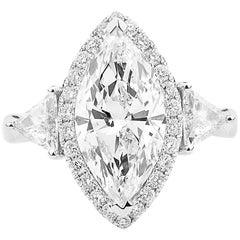 GIA Certified Marquise Cut Diamond Ring, 3.73 Carat