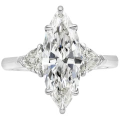 GIA Certified Marquise Cut Diamond Three-Stone Engagement Ring