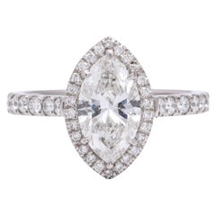 GIA Certified Marquise Diamond and Platinum Engagement Ring