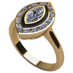 GIA Certified Marquise Diamond Ring with Black Enamel by Andrew Glassford