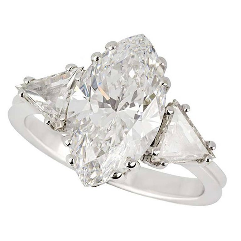 Marquise Cut GIA Certified Marquise Diamond Three-Stone Engagement Ring 3.42 Carat D/VVS2 For Sale