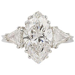 GIA Certified Marquise Diamond Three-Stone Engagement Ring 3.42 Carat D/VVS2