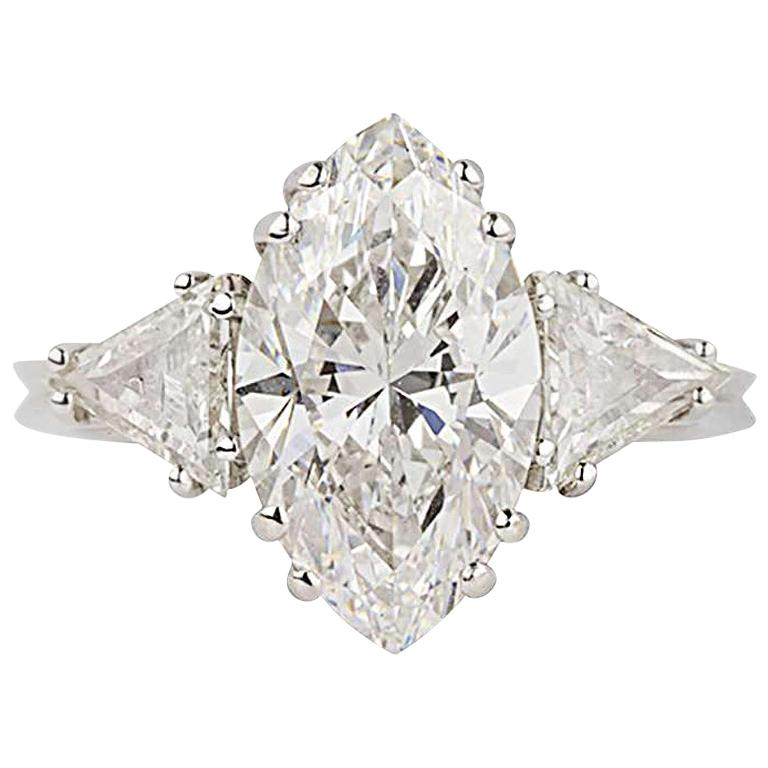 GIA Certified Marquise Diamond Three-Stone Engagement Ring 3.42 Carat D/VVS2 For Sale